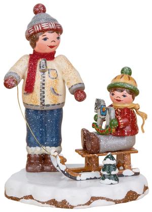 Kleine Figuren /& Miniaturen Winterkinder Junge mit Schneemann Hubrig Volkskunst 11cm